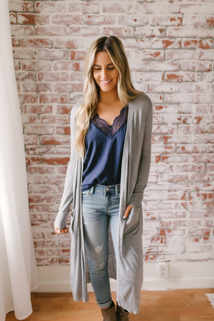 Wake Up Call Lightweight Pocket Cardigan - Heather Grey - FINAL SALE