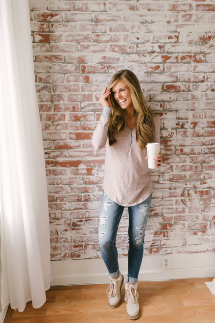 What the Heart Wants Contrast Top - Taupe/Heather Grey - FINAL SALE