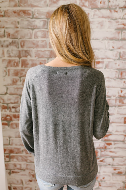 Wine Harvest Button Detail Sweater - Charcoal  - FINAL SALE