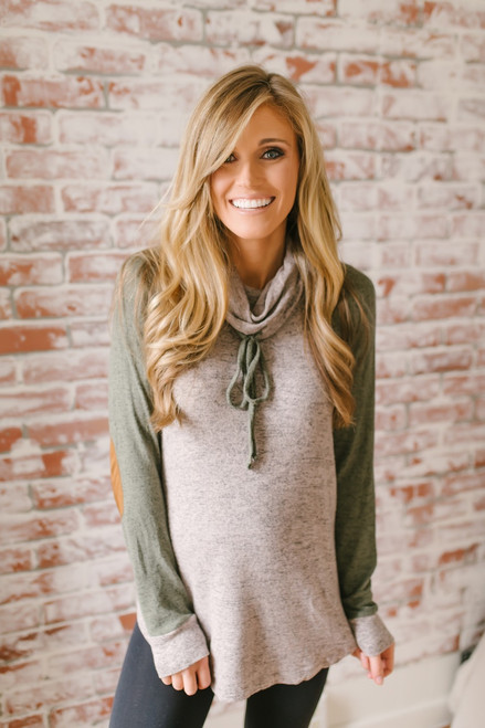 Soft Brushed Colorblock Pullover - Taupe/Olive - FINAL SALE
