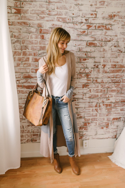 Soft Brushed Colorblock Maxi Cardigan - Taupe/Grey - FINAL SALE
