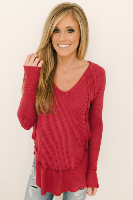 19c44aa14d Free People Catalina Thermal Top - Red