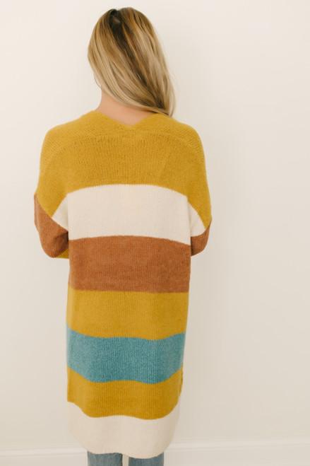 Chase the Sun Colorblock Cardigan - Mustard Multi  - FINAL SALE
