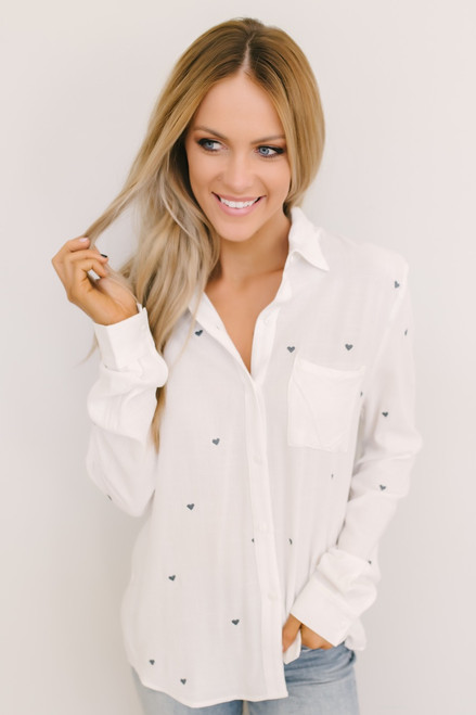 Young at Heart Button Down Top - White/Navy - FINAL SALE