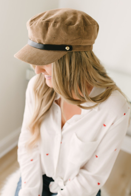 In Demand Corduroy Lieutenant Hat - Tan - FINAL SALE