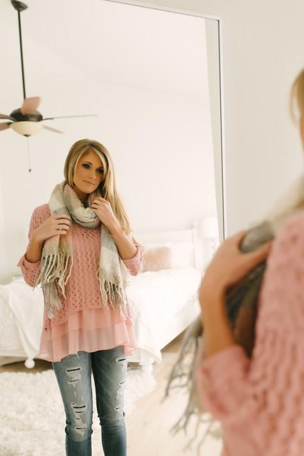 Tiana Contrast Layered Hem Crochet Top - Pink - FINAL SALE