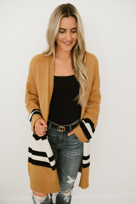 Cocoa by the Campfire Colorblock Cardigan - Camel Multi - FINAL SALE