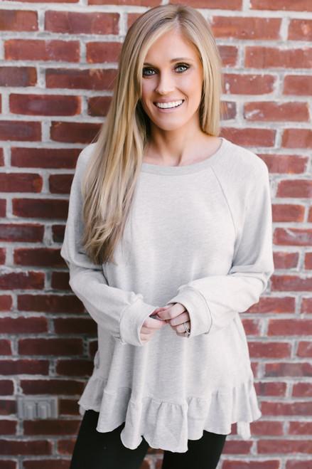 Lola French Terry Peplum Sweatshirt - Heather Grey  - FINAL SALE