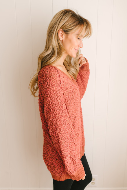 Ski Lodge V-Neck Wubby Pullover - Brick  - FINAL SALE