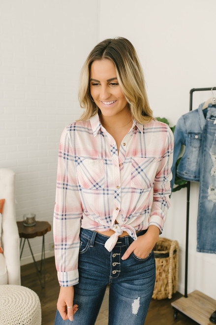 Cedar Lodge Plaid Button Down Top - Pink Multi