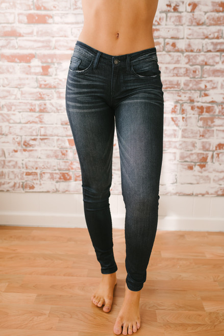 Ocean Wave Faded Skinny Jeans - Dark Wash - FINAL SALE