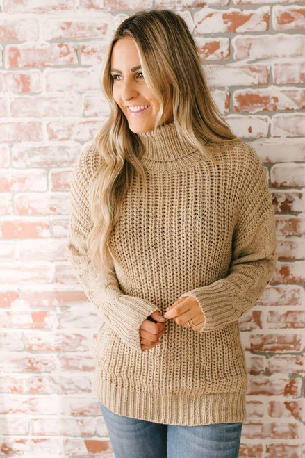 Hadley Turtleneck Cable Sleeve Sweater - Taupe  - FINAL SALE