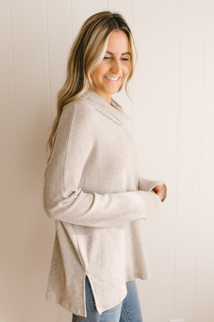 Wind Down Cowl Neck Pullover - Taupe  - FINAL SALE
