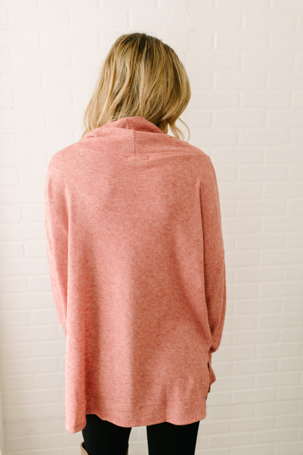 Wind Down Cowl Neck Pullover - Red