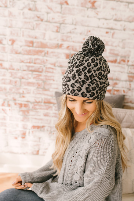 Leopard Pom Beanie - Grey/Black - FINAL SALE