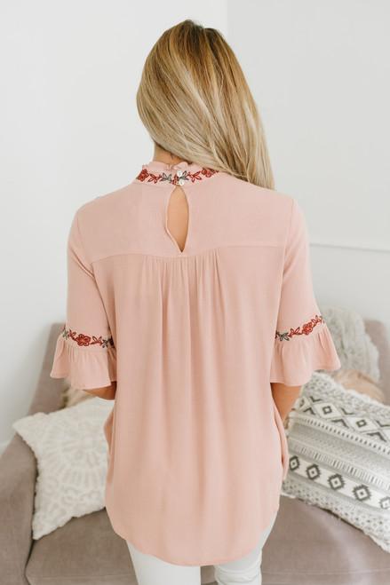 Aurora Mock Neck Floral Embroidered Top - Pink - FINAL SALE