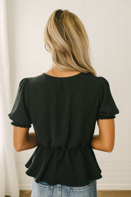 Everly Short Sleeve Surplice Peplum Top - Black - FINAL SALE