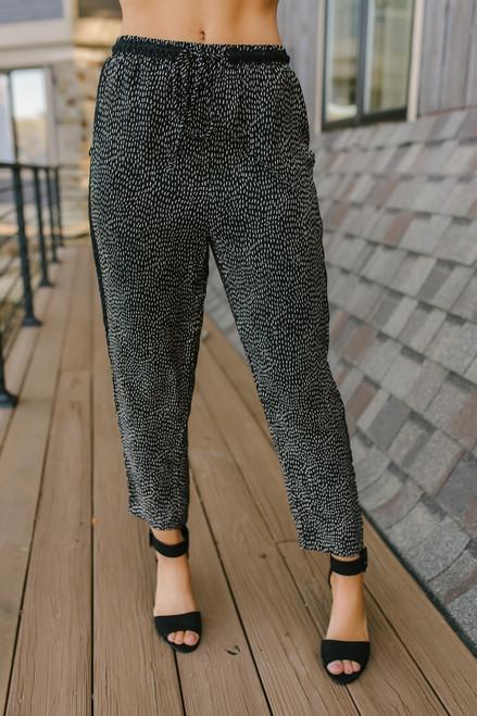 Everly Lace Detail Polka Dot Pants - Black/Gold- FINAL SALE