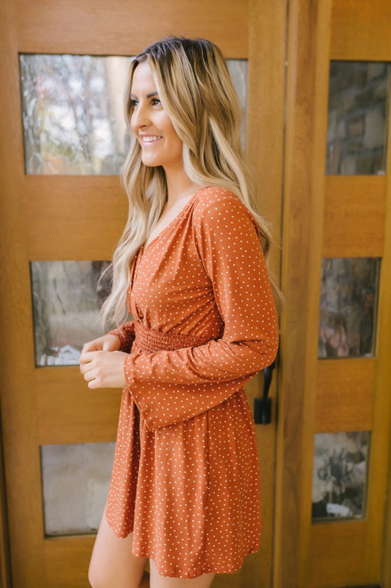 Happy Hour Surplice Polka Dot Dress - Orange/White- FINAL SALE