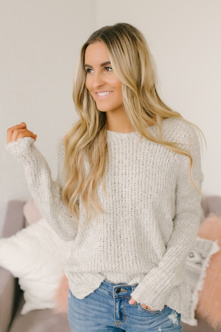Open Knit Knot Back Sweater - Ivory