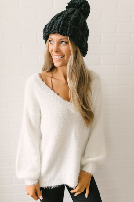 Everly Icelandic Adventure Fuzzy Sweater Ivory