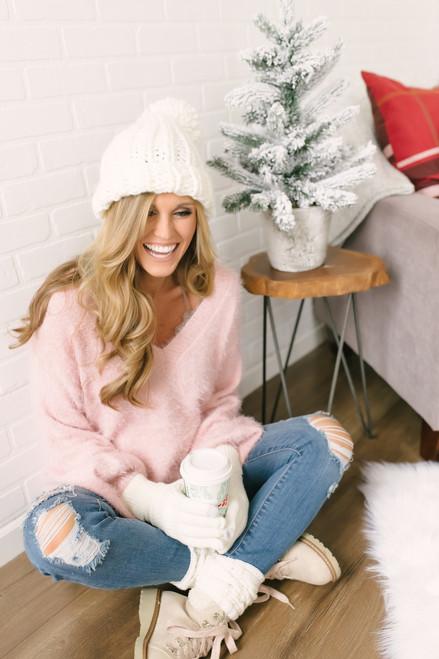 Everly Icelandic Adventure Fuzzy Sweater - Pink- FINAL SALE