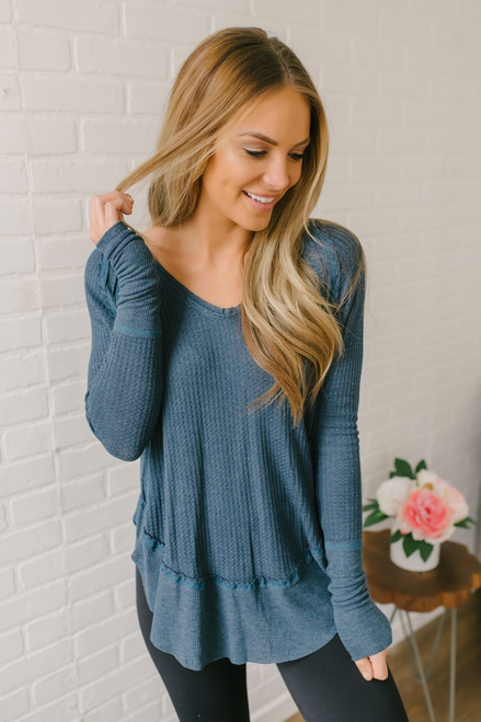 Free People Catalina Thermal Top - Teal - FINAL SALE