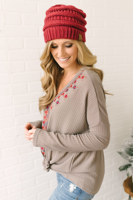 Embroidered Button Down Waffle Knit Knot Top - Mocha Multi - FINAL SALE