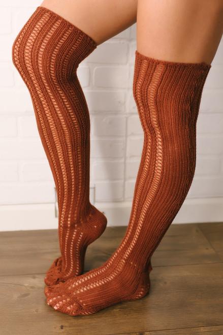 Free People Woodland Pointelle Socks - Terracotta  - FINAL SALE