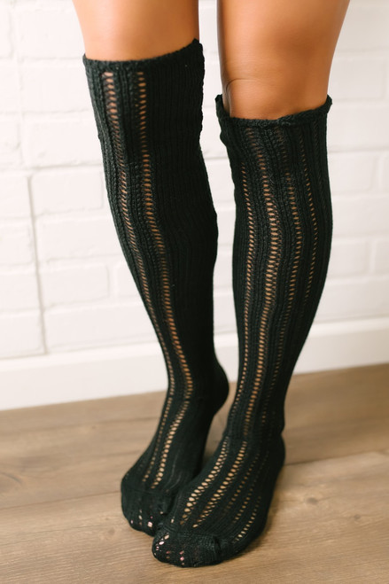 Free People Woodland Pointelle Socks - Black - FINAL SALE