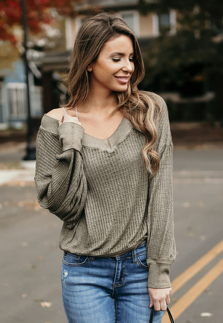 Free People South Side Thermal - Moss - FINAL SALE