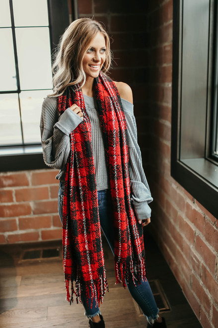 Free People Emerson Plaid Scarf - Red Combo - FINAL SALE