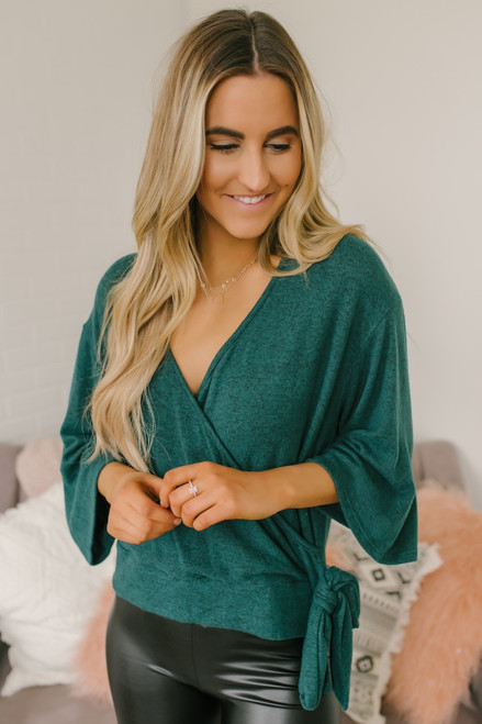 Everly Soft Brushed Surplice Top - Hunter Green