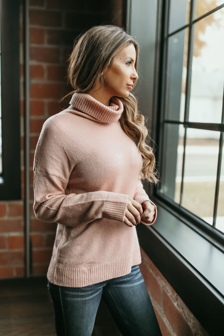 Snowflake Kisses Turtleneck Sweater - Blush  - FINAL SALE