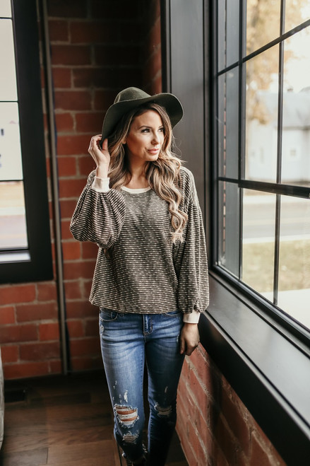 Brookville Contrast Striped Pullover - Olive/Cream - FINAL SALE