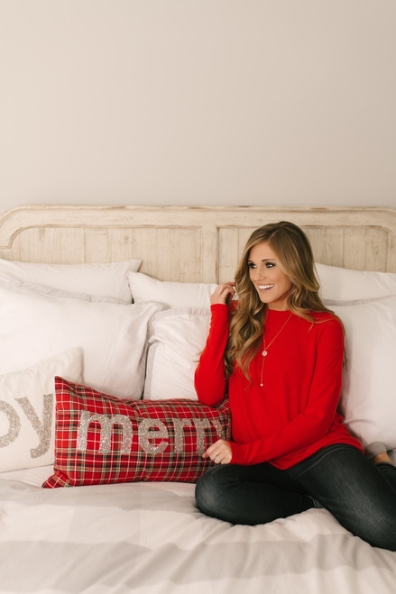 Cozy Knit Pocket Tunic - Red