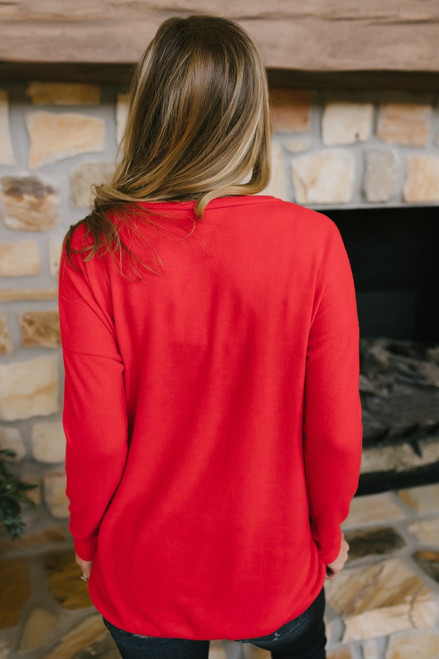 Cozy Knit Pocket Tunic - Red - FINAL SALE