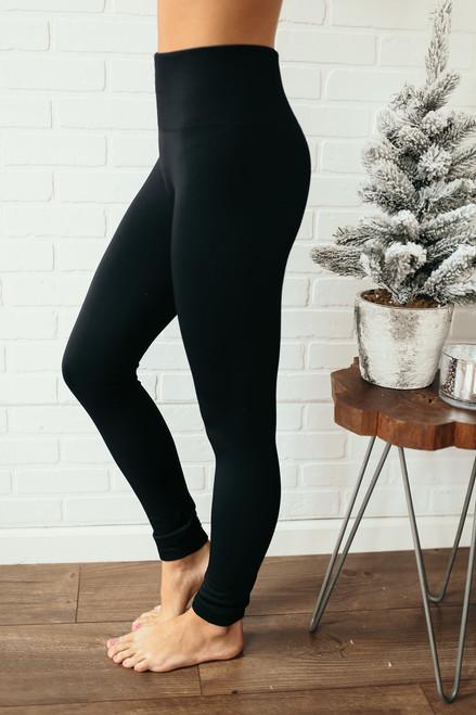 High Waist Seamless Fleece Leggings - Black