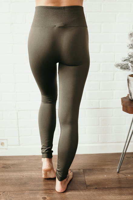 High Waist Seamless Fleece Leggings - Olive