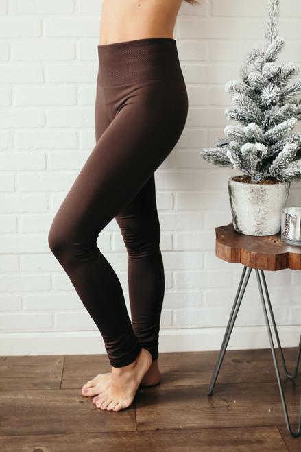 High Waist Seamless Fleece Leggings - Brown
