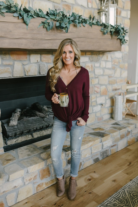 Thermal Button Down Knot Top - Burgundy - FINAL SALE