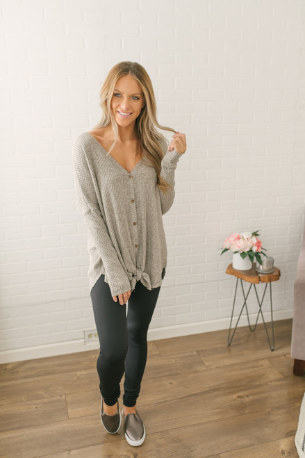 Thermal Button Down Knot Top - Oatmeal - FINAL SALE