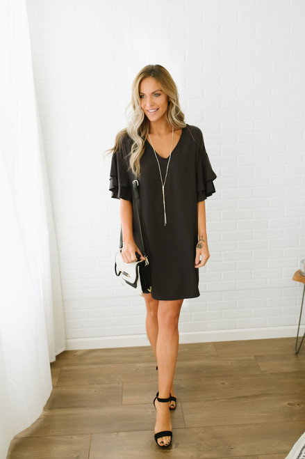 Everly Double Ruffle Sleeve Shift Dress - Black  - FINAL SALE
