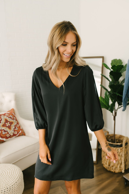 Everly V-Neck Open Sleeve Shift Dress - Black - FINAL SALE