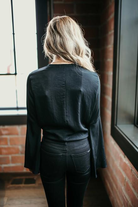 Elena Bell Sleeve Tie Front Top - Black - FINAL SALE