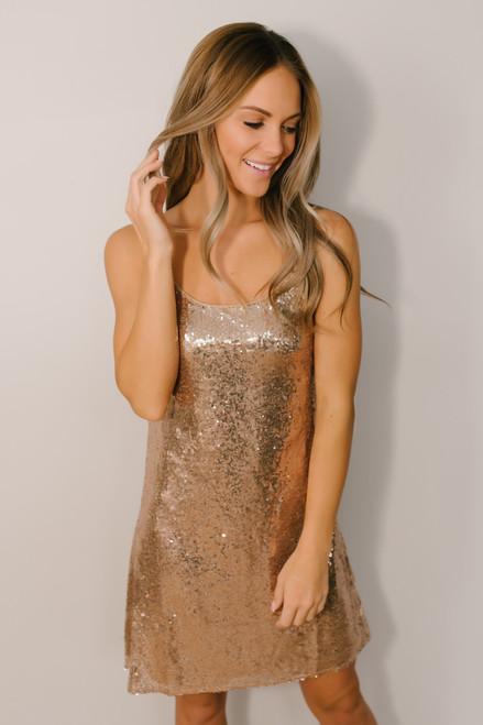 Puttin' on the Ritz Sequin Dress - Rose Gold  - FINAL SALE