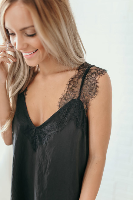Secret Admirer Lace Top - Black