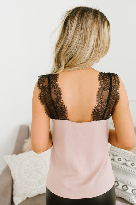 Secret Admirer Lace Top - Rose/Black