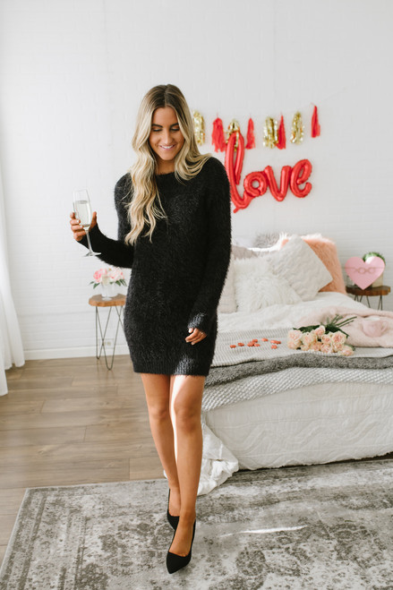 Everly Into the City Eyelash Sweater Dress - Black - FINAL SALE