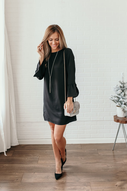 Everly Noelle Peplum Sleeve Shift Dress - Black  - FINAL SALE